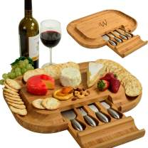 Picnic at Ascot Personalized Monogrammed Engraved Bamboo Cutting Board for Cheese & Charcuterie - includes Knife Set & Cheese Markers- Designed & Quality Checked in USA