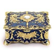 Hipiwe Vintage Metal Jewelry Box - Two Layer Rectangular Trinket Organizer Storage Box Ornate Treasure Chest Box Jewelry Decorative Box Keepsake Gift Box Case for Women Girls