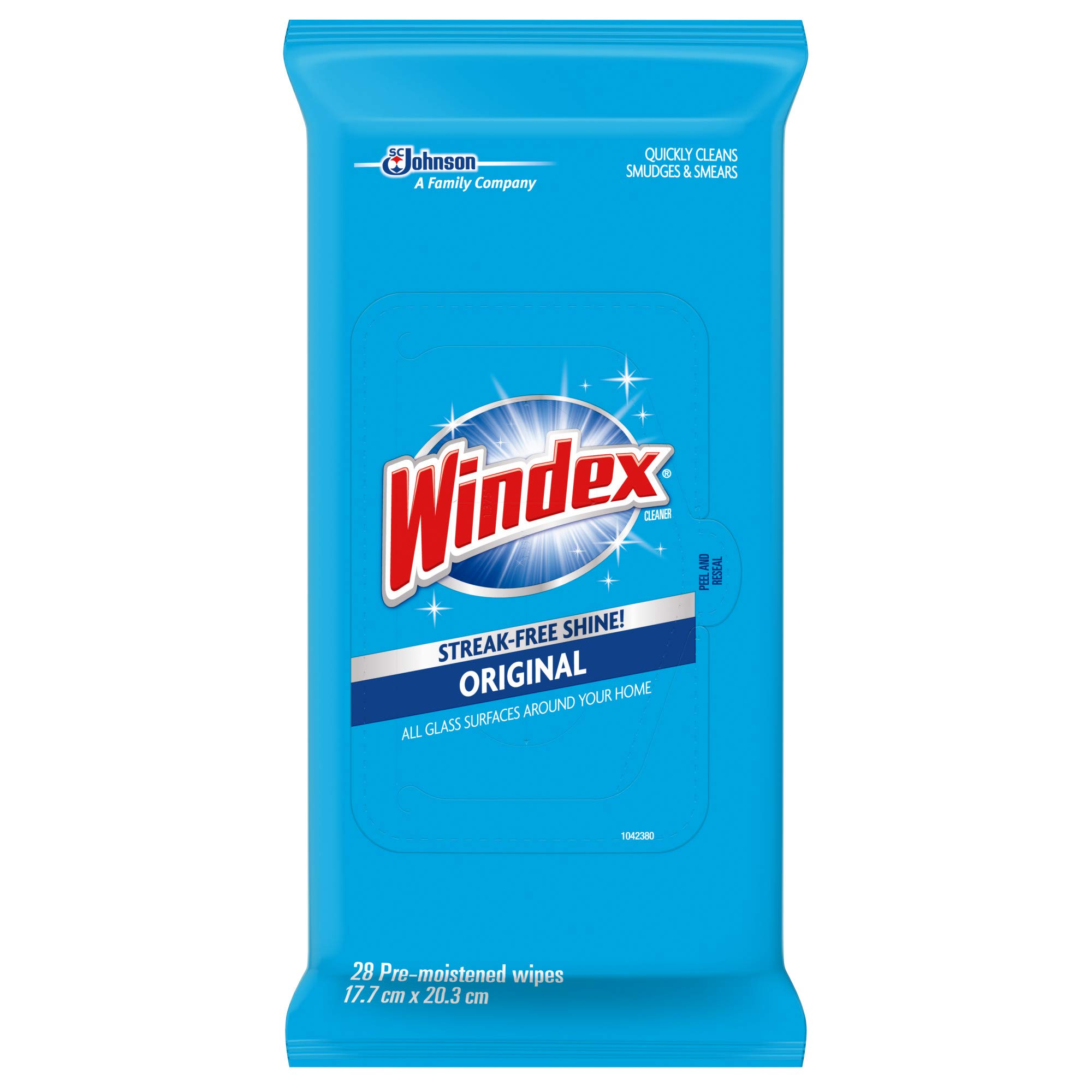 Windex Glass and Multi-Surface Cleaning Wipes, 28 Count - Pack of 6 (168 Total Wipes)