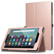 MoKo Case Fits Kindle Fire 7 Tablet (9th Generation, 2019 Release), Premium PU Leather Slim Folding Stand Shell Multiple Viewing Angles Cover with Auto Wake/Sleep - Rose Gold