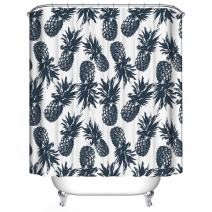 """Dimaka Shower Curtain for Girls, Bathroom Decoration Design Decor, Fruit Black Pineapple Print Water Resistant Fabric Rustic Shower Curtains(71"""" W x 71"""" L, Black and White Pineapple)"""