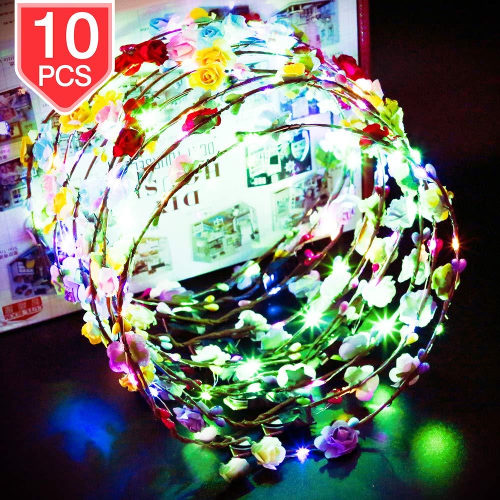 PROLOSO LED Flower Crown Light Up Paper Flower Wreath Headband Glow in The Dark Headpiece Headdress Wedding Festival Party Supplies 10 Pcs