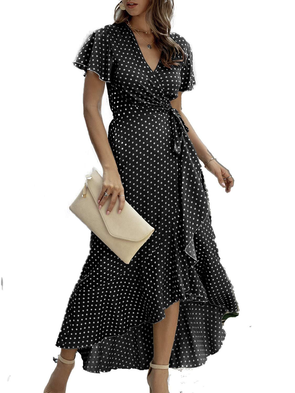 Simplee Women's V Neck Wrap Polka Dot Split Belted Flowy Boho Short Sleeve Beach Maxi Dress (10 Black dot)
