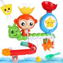 BBLIKE Baby Bath Toys, Bathtub Toys with Waterfall Station and Ball Track, Bath Toys for Toddlers Kids 2 3 4+ Year Old Boys Girls, 14 Pcs
