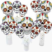Big Dot of Happiness Day of the Dead - Halloween Sugar Skull Party Centerpiece Sticks - Table Toppers - Set of 15