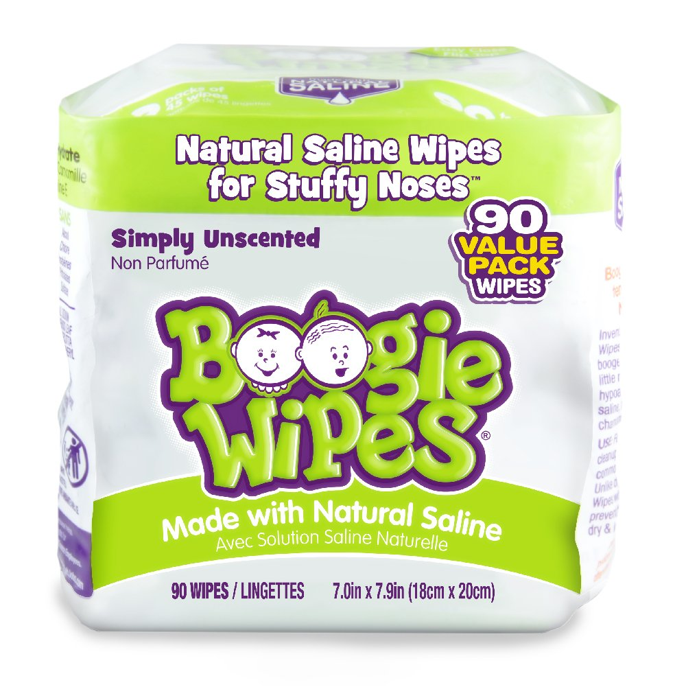 Boogie Wipes, Unscented Wet Nose Wipes for Kids and Baby, Allergy Relief, Soft Natural Saline Hand and Face Tissue with Aloe, Chamomile and Vitamin E, 90 Count, Pack of 90