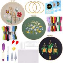 Embroidery Starter Kit, ZALALOVA 3 Packs Embroidery Kits with Flowers Plants Pattern and Instructions Cross Stitch Starter Kit Including Hoops Needles Color Thread Tools for Beginners