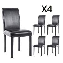 DAGONHIL Dining Chairs Leather Kitchen Parson Chair Urban Style Dining Side Chair with Solid Wood Legs,Set of 4(Black)