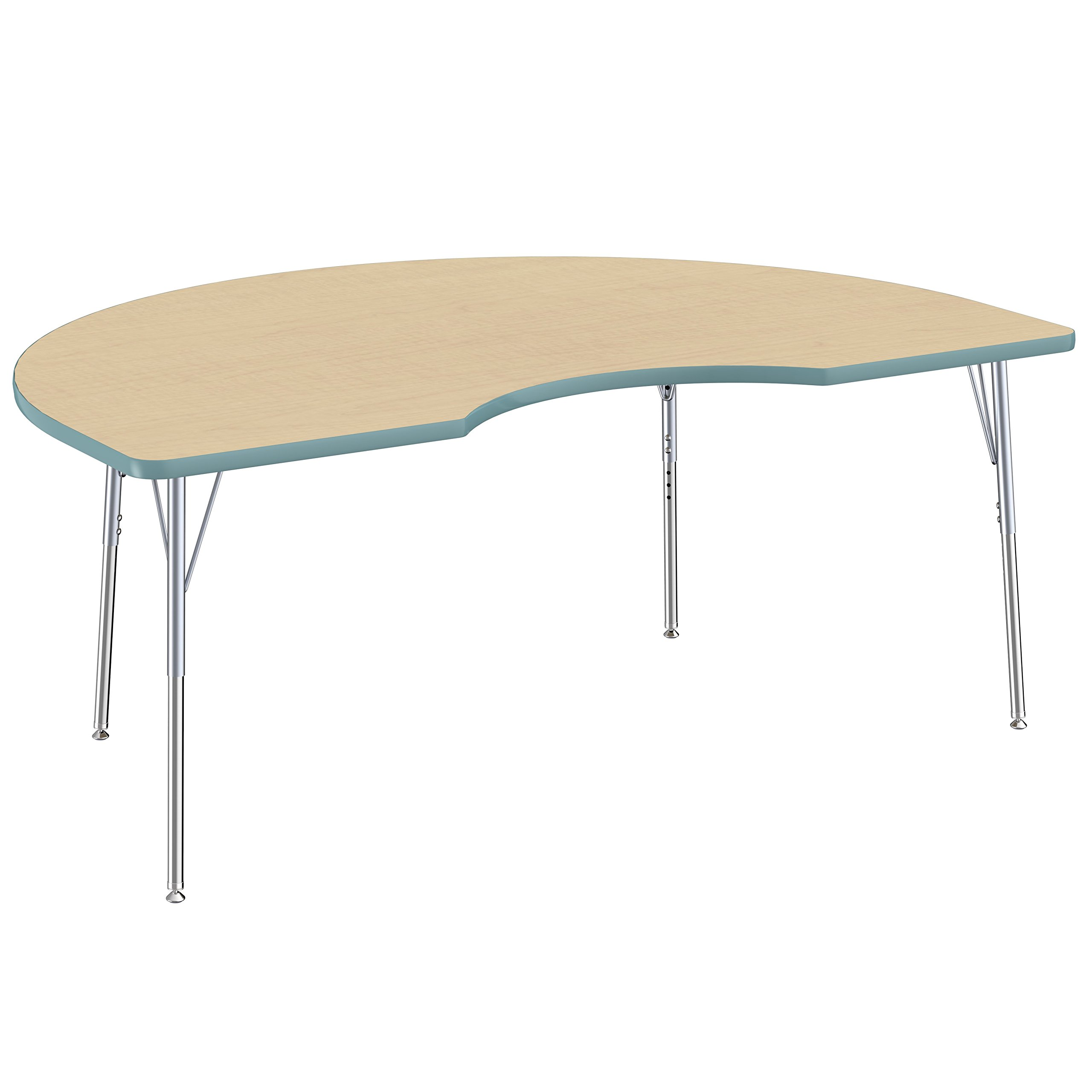 FDP Kidney Premium Contour Activity School and Office Table (48 x 72 inch), Standard Legs with Swivel Glides for Collaborative Spaces, Adjustable Height 19-30 inches - Maple Top and Seafoam Edge