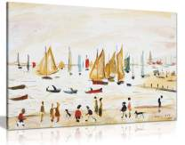 L.S Lowry Yachts Painting Canvas Print Wall Art Picture Home Decor (18x12in)