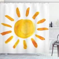 "Ambesonne Grunge Shower Curtain, Sun Illustration Childish Watercolor Brush Painting Style Kids Nursery Playroom Picture, Cloth Fabric Bathroom Decor Set with Hooks, 70"" Long, Yellow White"