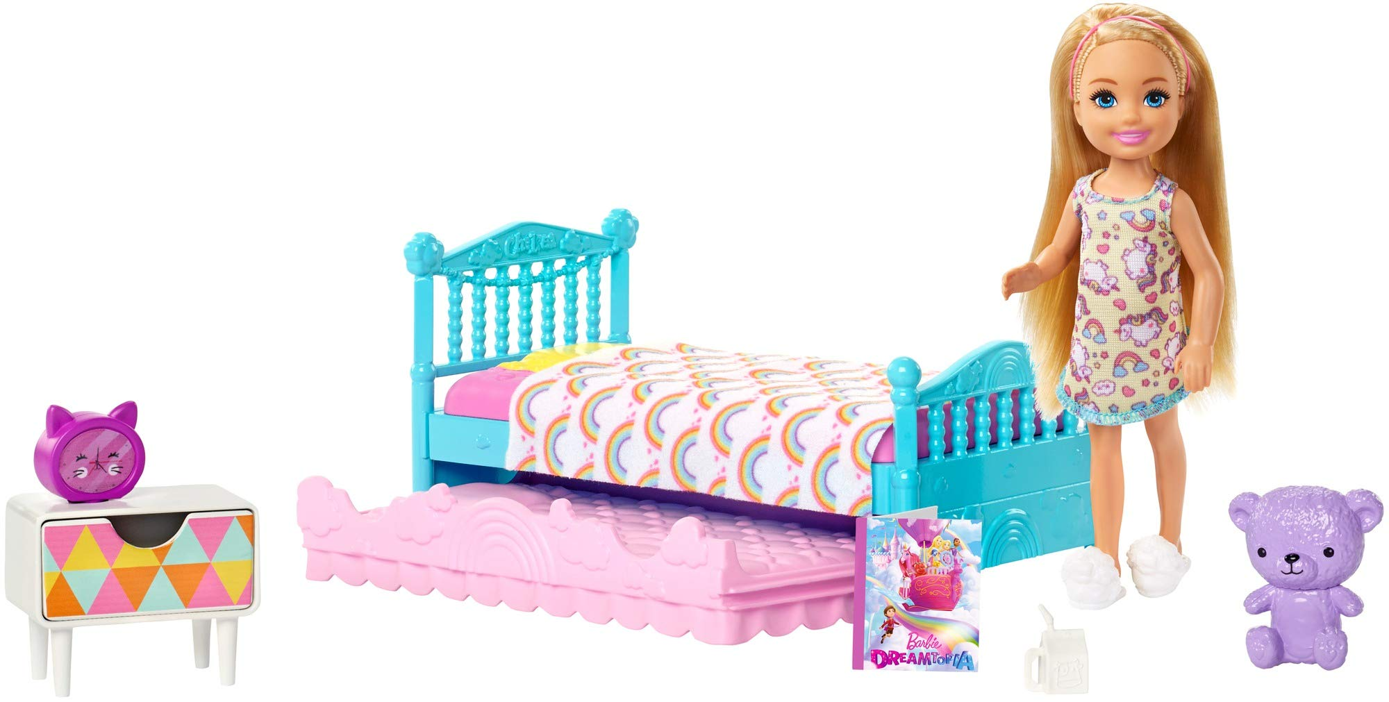 Barbie Club Chelsea Toy, 6-inch Blonde Doll and Bedroom Playset with Working Trundle Bed, Nightstand with Drawer, Teddy Bear and More, Gift for 3 to 7 Year Olds [Amazon Exclusive]