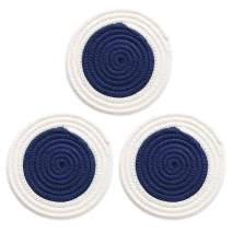 """Cotton Trivet Round Cloth Potholder Woven Braided Hot Pad Coaster for Kitchen Dishes Plate Pan, Fabric Pot Holder Set Heat Resistant & Non-slip & Water-absorbent, Diameter-7"""" Set of 3 Navy White"""