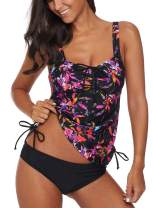 Aleumdr Womens Bandeau Printed Tankini Top with Triangle Briefs Swimsuit Swimwear
