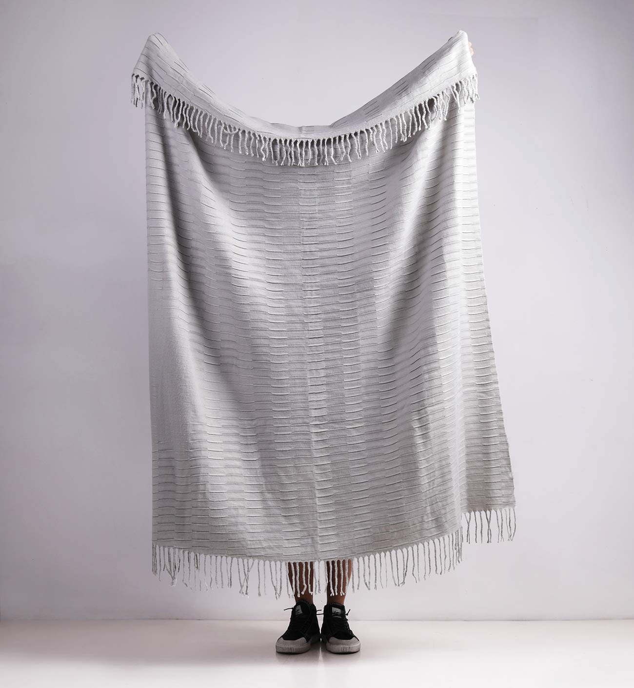 "PHF Knit Throw Blanket for Travel Picnic Beach Soft Chunky Cozy Fringed Warm Acrylic Texture Decorative, 50"" x 60"" Grey"