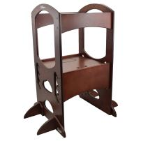Little Partners' Kids Learning Tower – Child Kitchen Helper Adjustable Height Step Stool, Wooden Frame, Counter Step-Up Active Standing Tower (Dark Cherry)