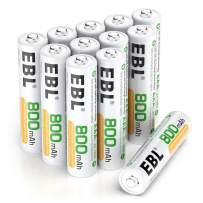 EBL 12 Counts Rechargeable AAA Batteries Home Basic 800mAh Battery with Portable Storage Box