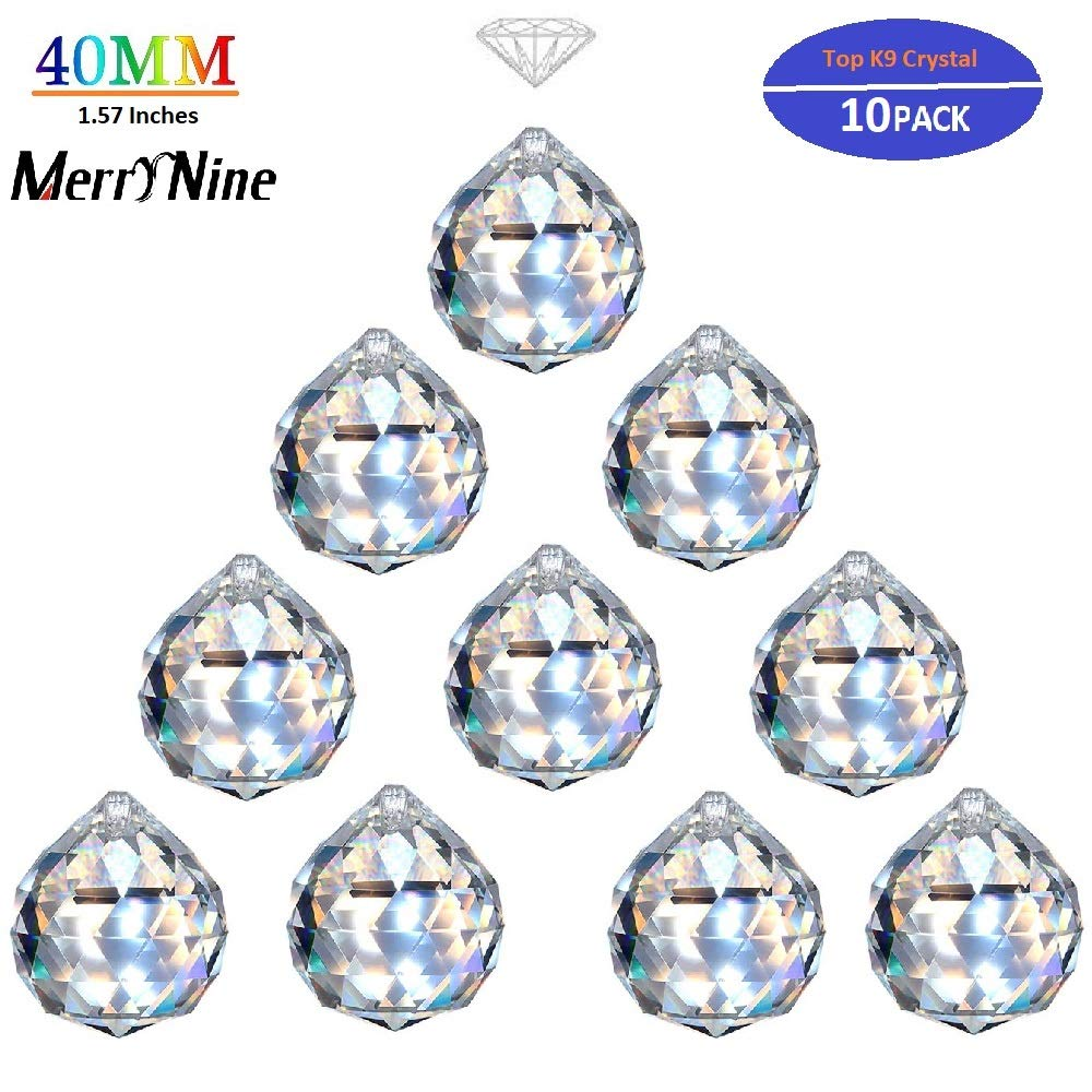 "MerryNine Clear Crystal Ball Prism Suncatcher Rainbow Pendants Maker, Hanging Crystals Prisms for Windows, for Feng Shui, for Gift(40mm/1.57"" 10pack)"