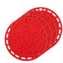 Silicone Hot Pads (Set of 4) - 6 in 1 Multi-Purpose Kitchen Tool, Pot Holder, Splatter Guard, Microwave Cover, Jar Opener, Decorative Trivet, Red, 8 Inches. Includes 121 Cooking Secrets Ebook