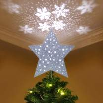 YUNLIGHTS Christmas Tree Topper Lighted Star Tree Topper with LED Snowflake Projector Lights, Christmas Decorations, Silver