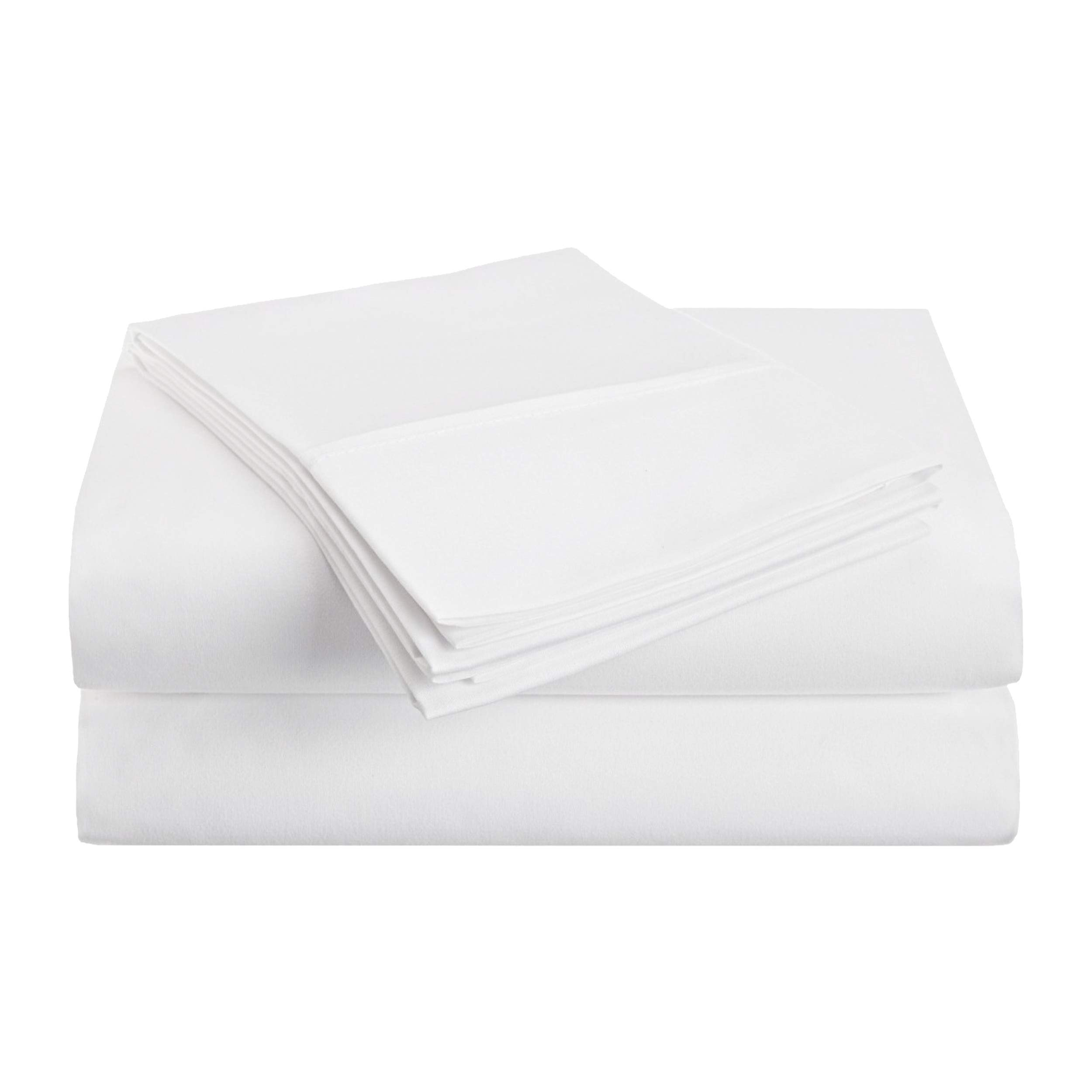 Superior 1500 Series Premium Quality 100% Brushed Soft Microfiber 3-Piece Luxury Deep Pocket Cooling Bed Sheet Set, Hypoallergenic, Wrinkle and Stain Resistant - Twin XL, White