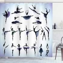 "Ambesonne Art Shower Curtain, Female Ballet Dancers Performing Arts Black Silhouettes Illustration Design, Cloth Fabric Bathroom Decor Set with Hooks, 70"" Long, Purple Lavender"