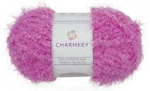 Charmkey Smooth Fur Yarn Super Soft Feeling 5 Bulky Fluffy Solid Colors Knitting Polyester Blended Fuzzy Nylon Luxe Yarn for Sweater Shawl Scarf Animal Toys, 1 Skein, 3.35 Ounce (Pink Lavender)