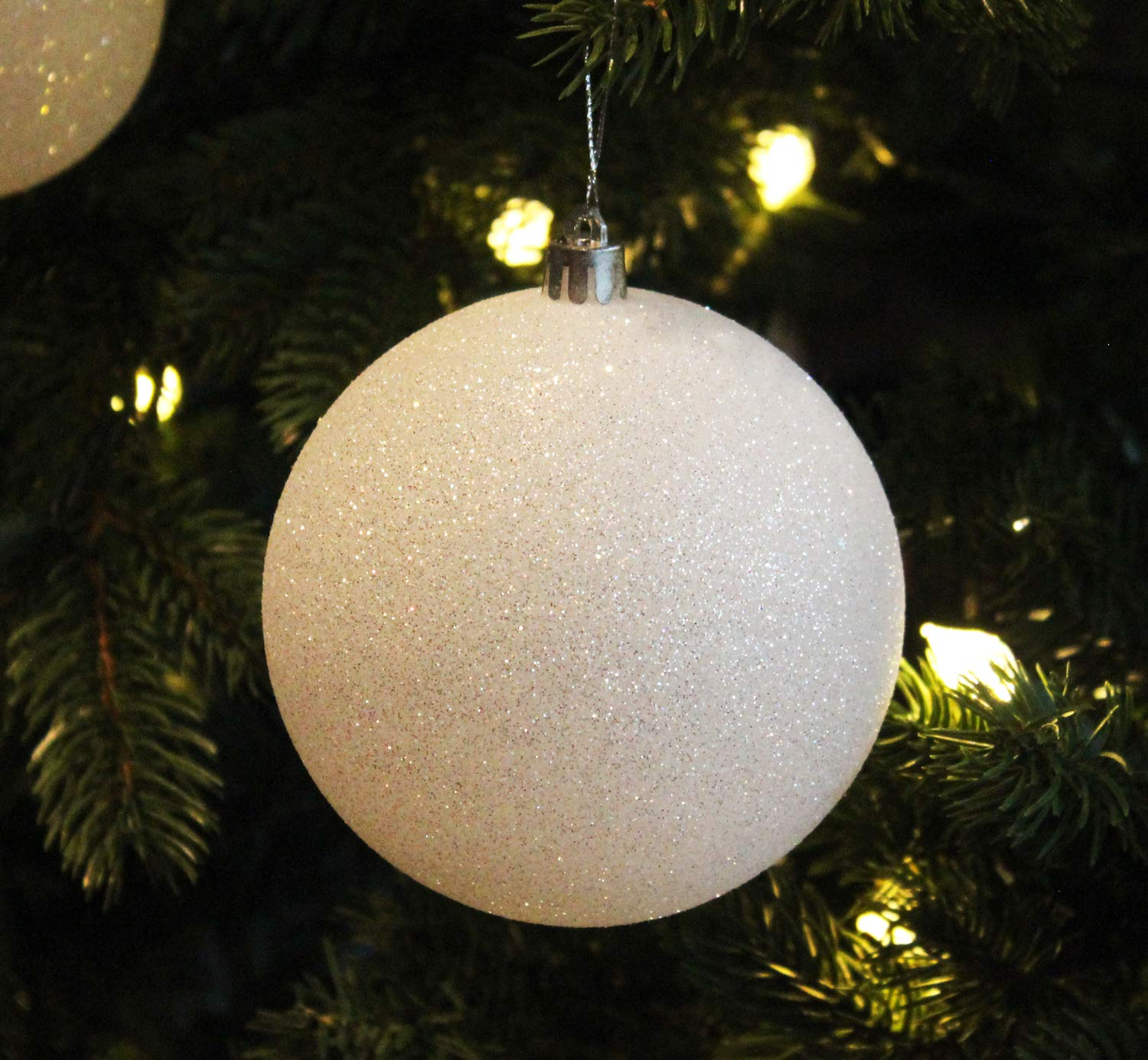 Sleetly Christmas Tree Ball Ornaments, White Snowball, 4.70 inches, Set of 4