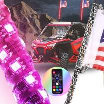 OHMU 2PC 4FT Remote Control 360° Spiral LED Whip Lights w/Flag [21 Modes] [20 Colors] [Weatherproof] Lighted Antenna Whips - Accessories for UTV,ATV,Truck, RZR, Can-am