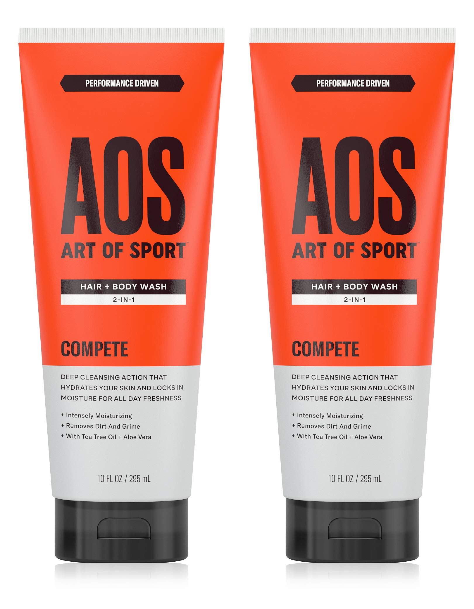 Art of Sport Men's Body Wash with Tea Tree Oil and Aloe Vera (2-pack), Compete Scent, Dermatologist-Tested, Paraben-Free, Hypoallergenic, Moisturizing Shower Gel