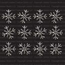 Set of 12 Small Frozen Snowflakes Iron On Rhinestone Crystal T-Shirt Transfers by JCS Rhinestones