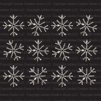 Set of 12 Small Frozen Snowflakes Iron On Rhinestone Crystal T-Shirt Transfers by JCS Rhinestones