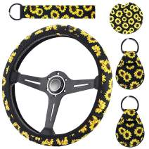 WenMei Sunflower Steering Wheel Cover + 1 Car Coaster + 1 Lanyard + 2 Coin Sunflower Keychains Cute and Stylish Universal Sunflower Steering Wheel Cover, Sunflower Car Interior Kits