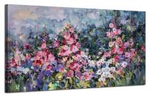 """Canvas Wall Art Pink Flowers Elegant Painting Modern Abstract Landscape Picture Prints, Rustic Colorful Floral 48""""x24"""" Large Size Artwork for Living Room Bedroom Kitchen Dining Room Home Office Décor"""