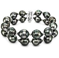 """Sterling Silver 2-Rows 8-10mm Black Off-shape Tahitian Cultured Pearl and Sparkling Beads Bracelet, 7.5"""""""
