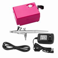 Airbrush Makeup Set Pinkiou Air Brush Kit for Face Paint with Mini Compressor 0.4mm Needle and Nozzle Nail Body Paint SP16 (RED)