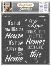 CrafTreat Happy Home Decor Stencils for Painting on Wood, Canvas, Paper, Fabric, Floor, Wall and Tile - Happy Home - 6x6 Inches - Reusable DIY Art and Craft Stencils - Quote Stencils
