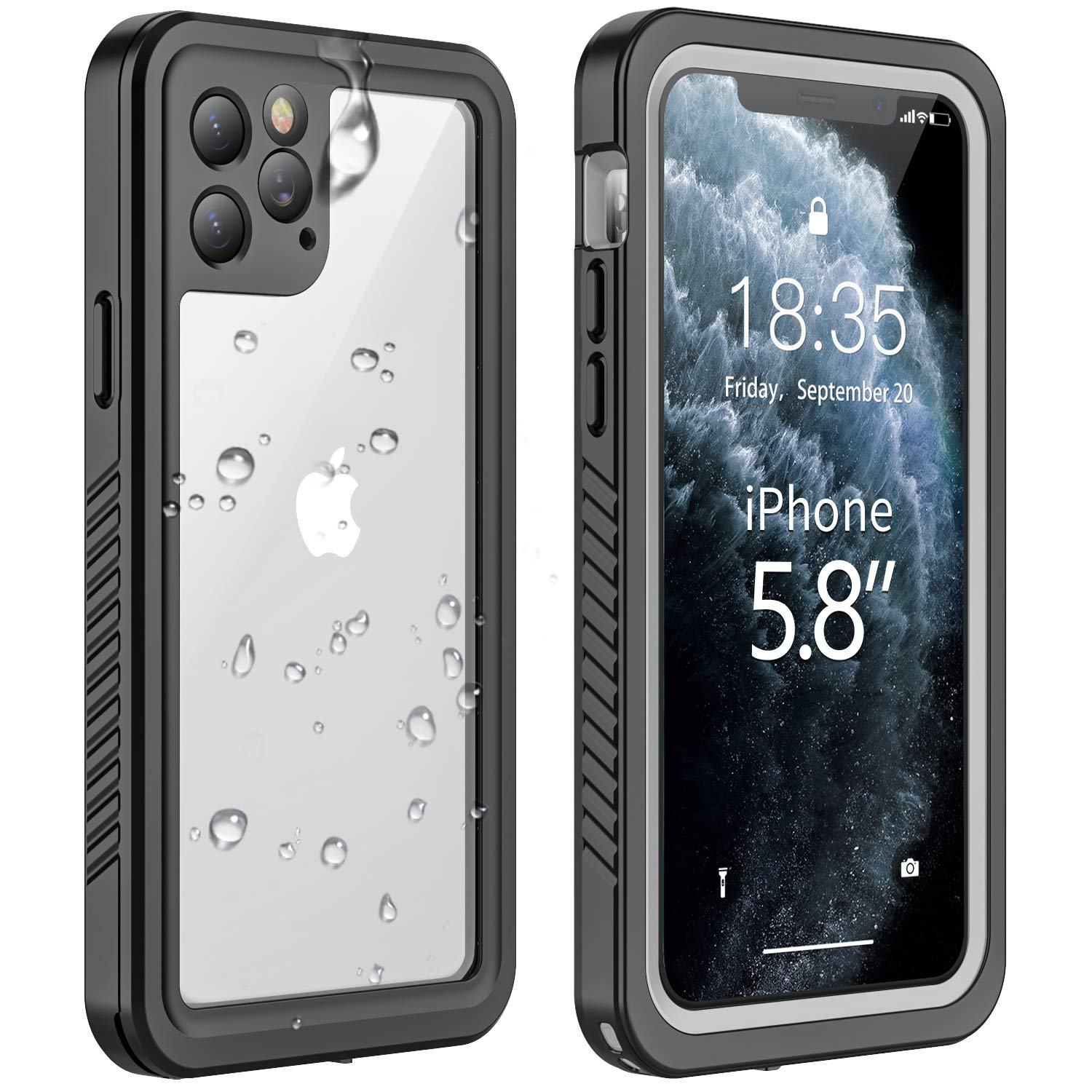 Vapesoon iPhone 11 Pro Waterproof Case, Built-in Screen Protector 360 Full-Body Protection Clear Call Quality Heavy Duty Waterproof Shockproof Cover Case for iPhone 11 Pro 2019(5.8 Inch)-Black/Clea