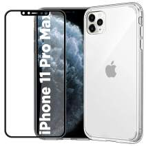EasyAcc Clear Case for iPhone 11 Pro Max with Screen Protector, Slim Transparent Phone Cases Thin Hybrid Protective Shockproof Hard PC Back with Soft TPU Bumper Cover Fit iPhone 2019 6.5 inch