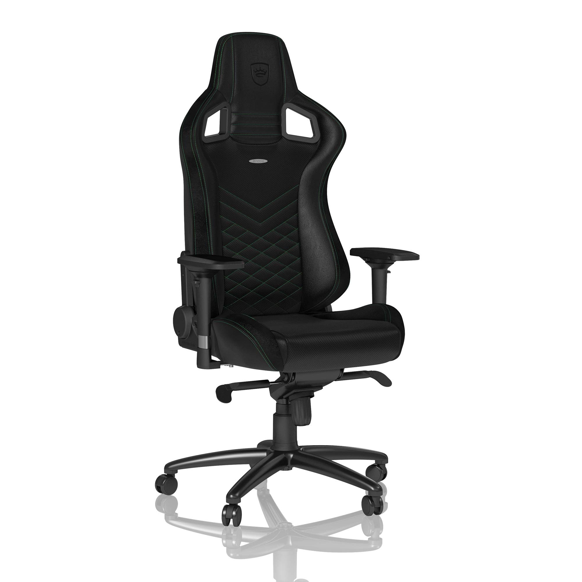 noblechairs Epic Gaming Chair - Office Chair - Desk Chair - PU Faux Leather - 265 lbs - 135° Reclinable - Lumbar Support Cushion - Racing Seat Design - Black/Green