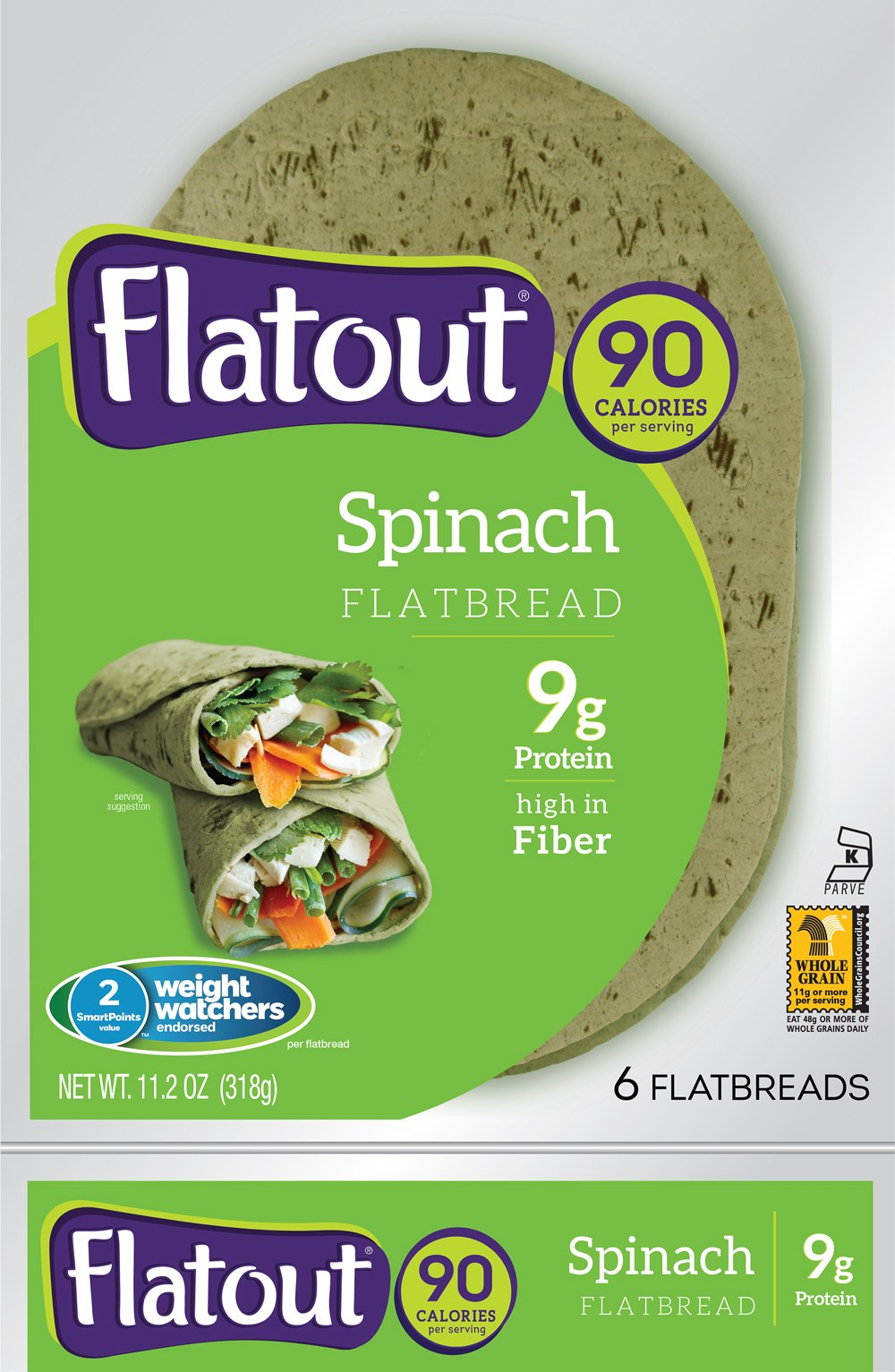 Flatout Wraps, Light Spinach (1 Pack of 6 Flatbreads)