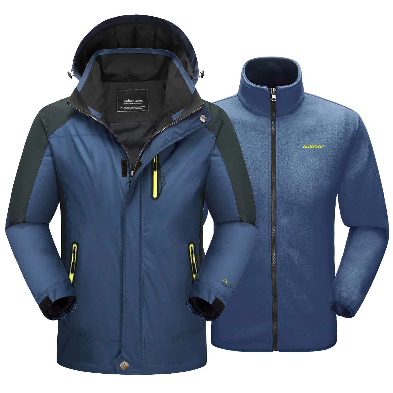MAGCOMSEN Men's 3-in-1 Winter Ski Jacket with 6 Pockets Fleece Lining Detachable Hood Water Resistant Snowboard Jacket