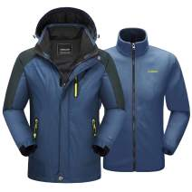 MAGCOMSEN Men's 3-in-1 Winter Ski Jacket with 6 Pockets Fleece Lining Detachable Hood Water Resistant Snowboard Jacket