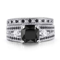 Double Fair Womens White or Black Gold Plated Cushion Cut CZ Engagement Promise Anniversary Ring Sets