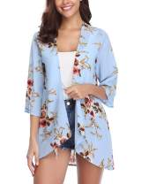 Aibrou Women Summer Chiffon Cardigans Open Front Blouse Casual Floral Kimono Cover Up Tops