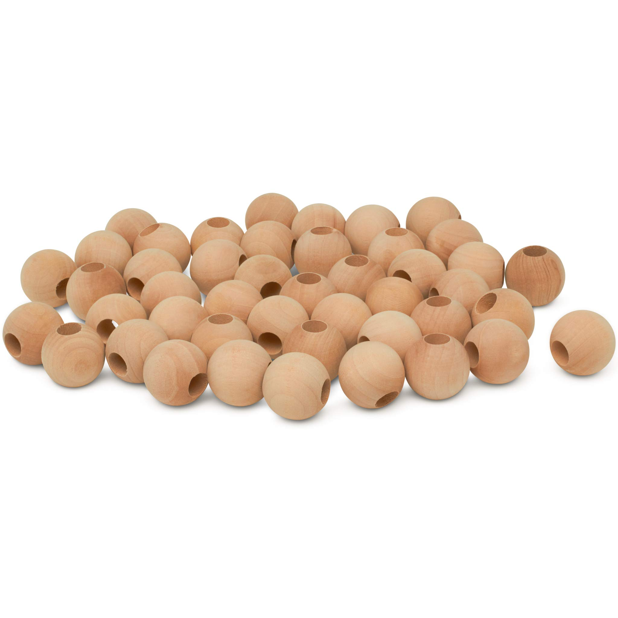by Woodpeckers Pack of 50 Unfinished Round Wooden Bead Supplies Wooden Beads 1 inch x 3//8 Hole Easily Threads Paint and Stain Smooth Natural Finish