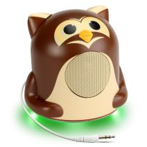 Mini Cute Animal Battery Powered Portable Speaker with LED Night Light (Owl Pal Jr) Speaker for Kids by GOgroove - Passive Subwoofer, Built-in 3.5mm AUX Cable - Plug Into Tablets, Phones, & More
