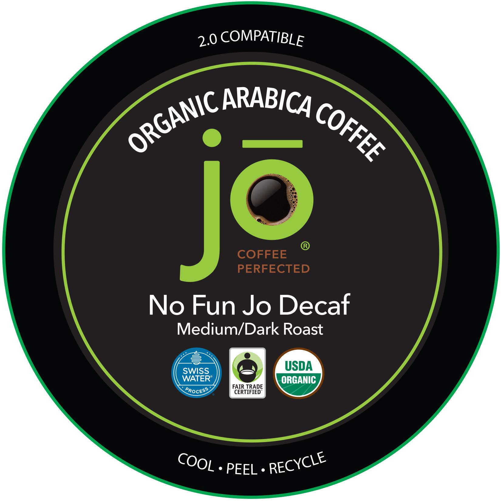 NO FUN JO DECAF: 24 Cup Fresh Seal Organic Coffee Pods, Eco-Friendly Recyclable Single Serve Capsule for use in Keurig Compatible K-Cup Brewers, Swiss Water Process Decaf Fair Trade Medium/Dark Roast