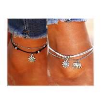 ATIMIGO 2PCS Boho Beach Layered Rope Anklet Bracelet Sunflower Elephant Charm Handmade Foot Jewelry for Women Teen Girls
