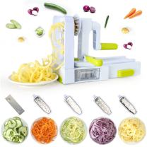 Spiral Slicer, FANGZHIDI 5-Blade Vegetable Spiralizer- Veggie Spaghetti Pasta Maker, Foldable and Detachable - Easy to Store and Operate, with a Powerful Suction Pad, Best Rotary Cutter for Kitchen